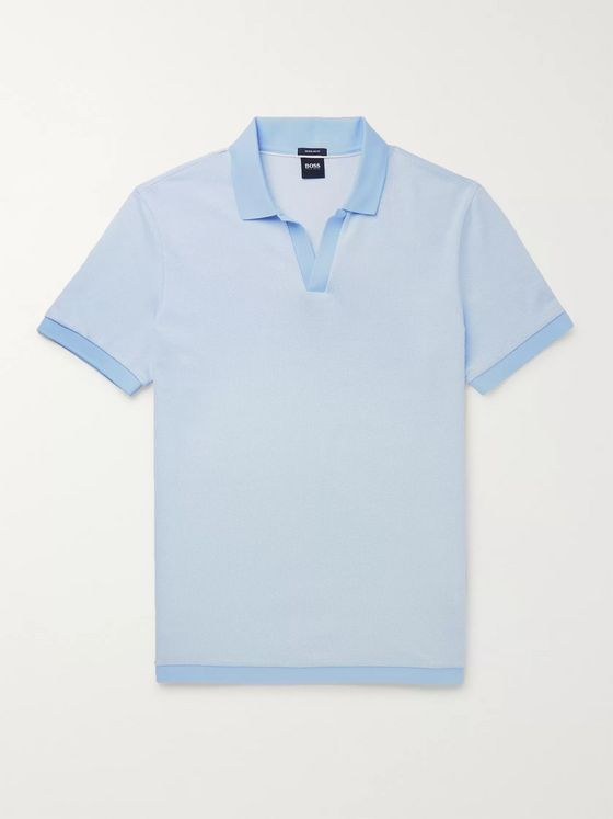 Hugo Boss Textured-Knit Cotton Polo Shirt