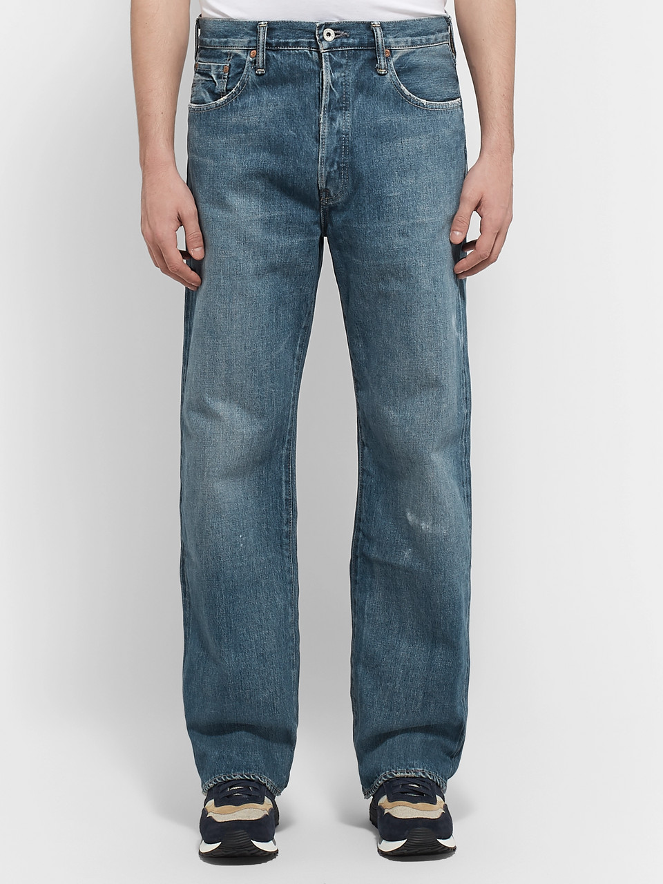Chimala Wide-Leg Washed Selvedge Denim Jeans