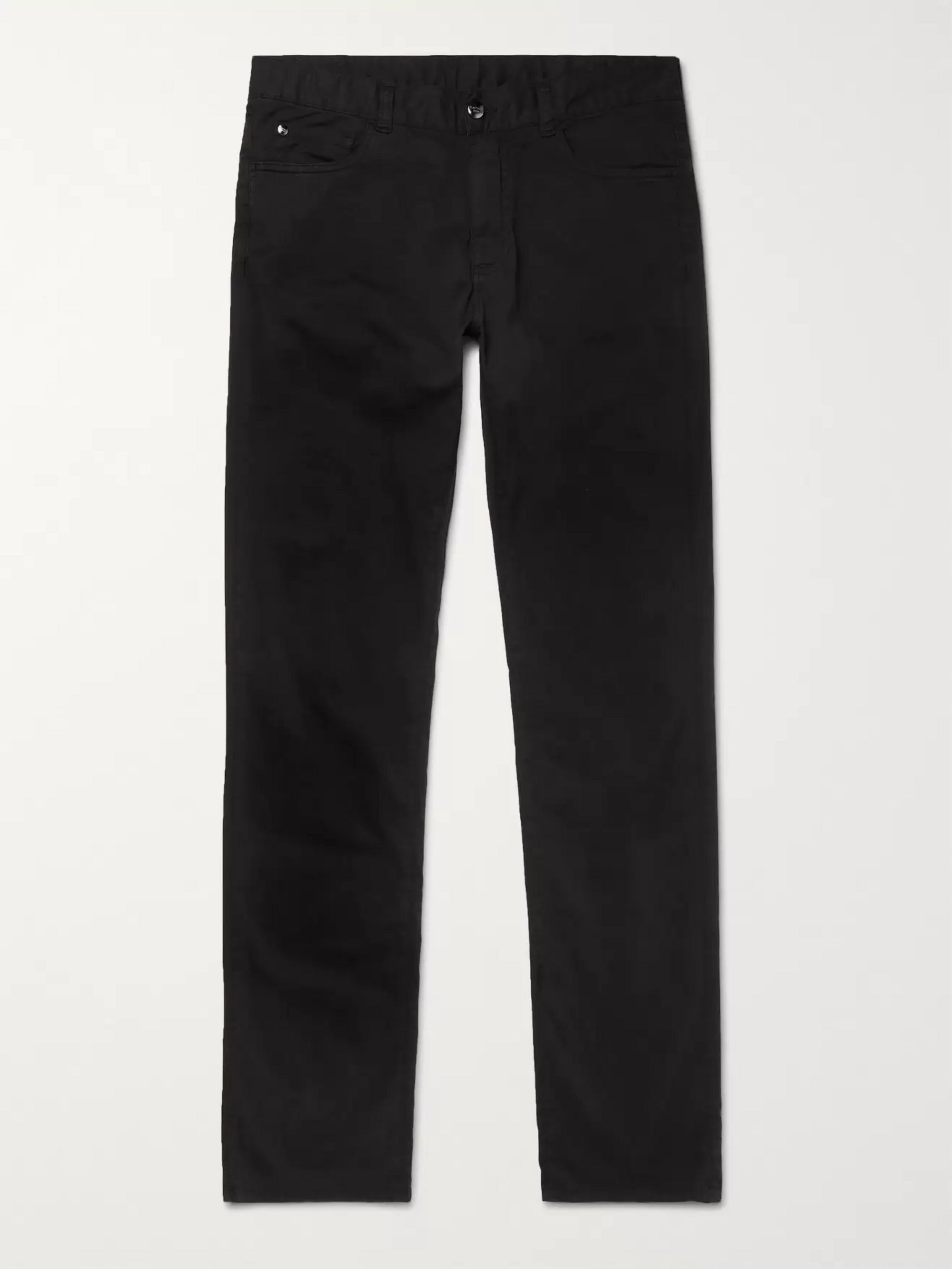 Canali Black Stretch-Cotton Twill Trousers