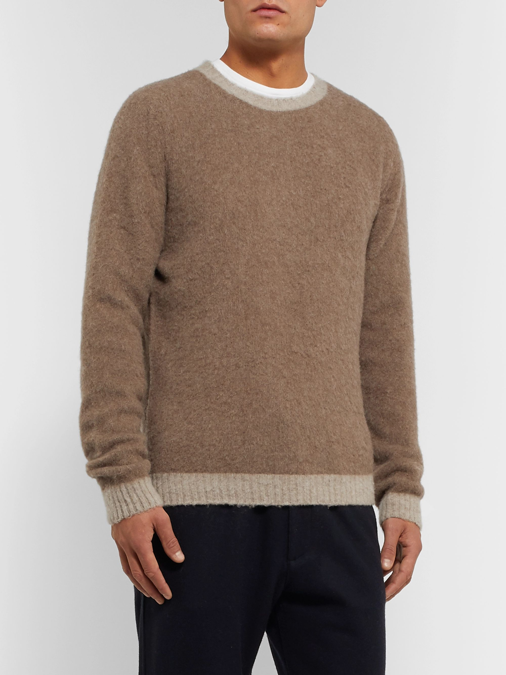 Boglioli Slim-Fit Brushed Virgin Wool and Cashmere-Blend Sweater