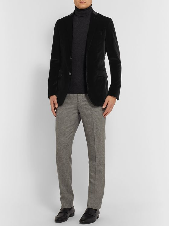 Etro Navy Cotton-Blend Velvet Blazer