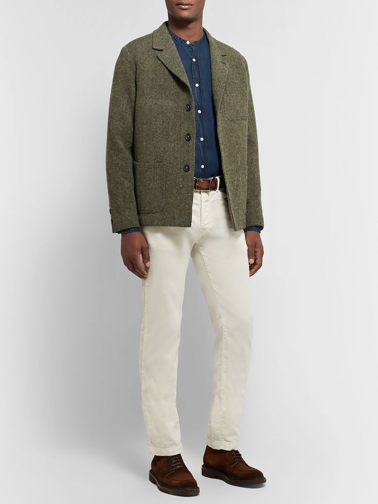 Massimo Alba Army-Green Unstructured Wool-Tweed Blazer