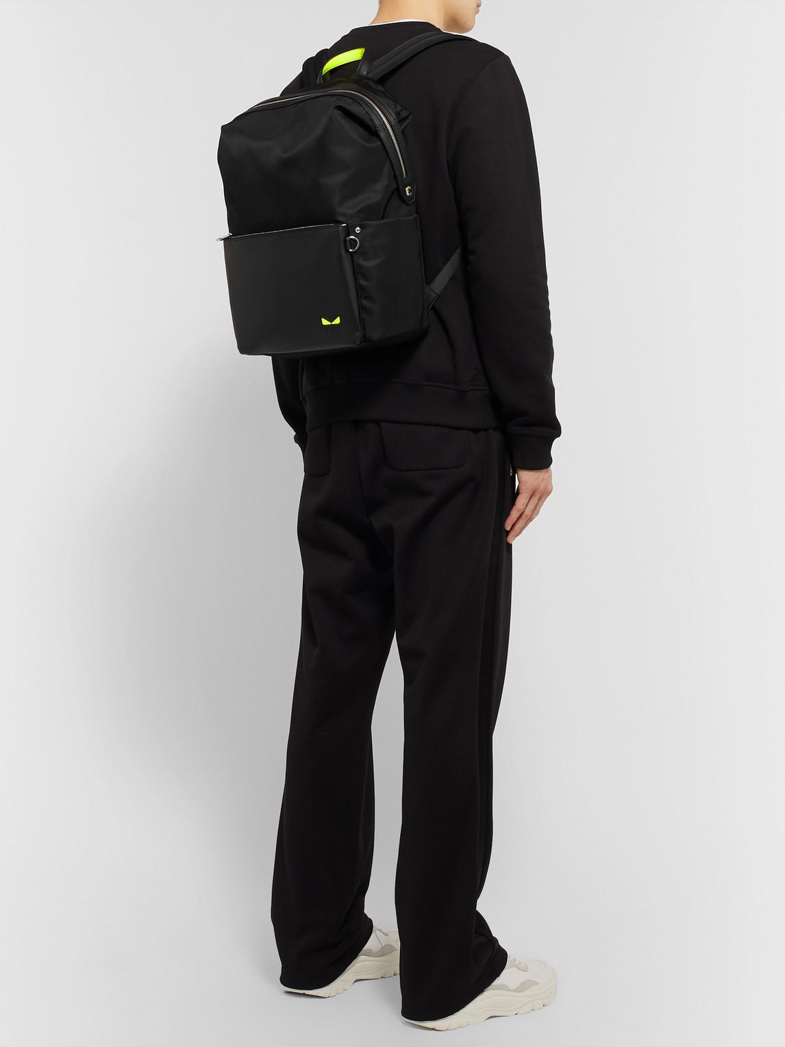 Fendi Backpacks BAG BUGS NYLON AND LEATHER BACKPACK