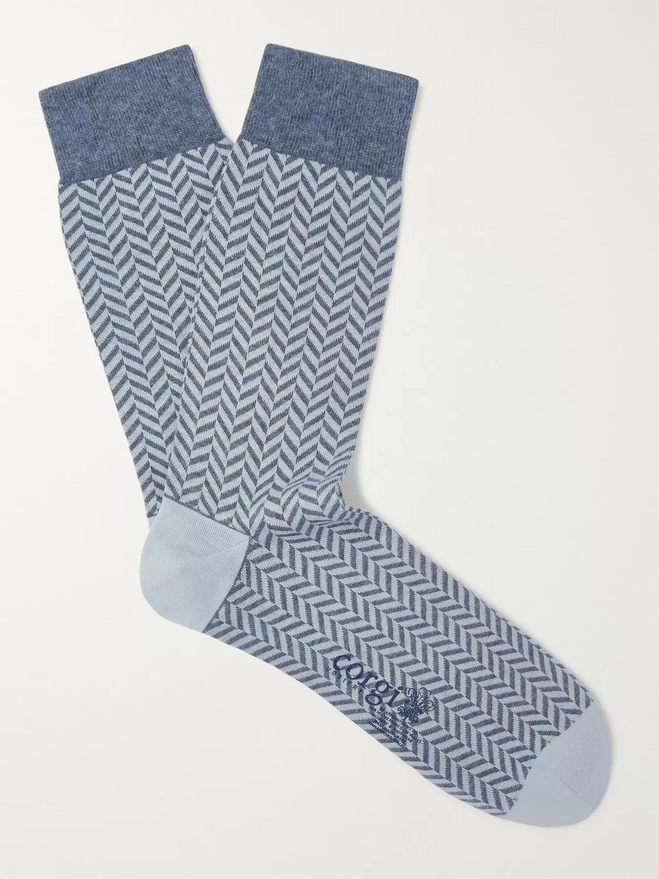 Kingsman Herringbone Cotton-Blend Socks