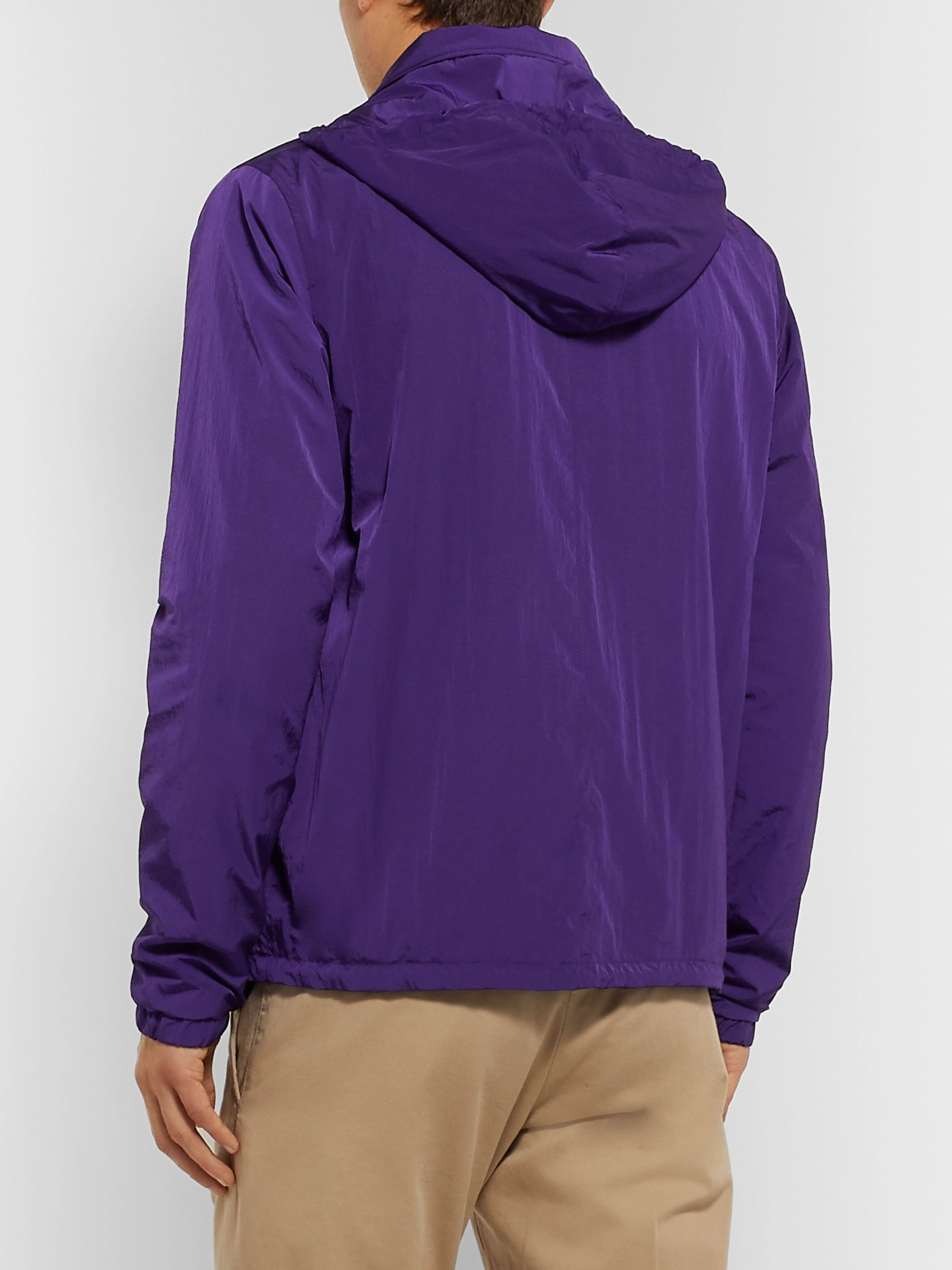 AMI Logo-Appliquéd Shell Hooded Coach Jacket
