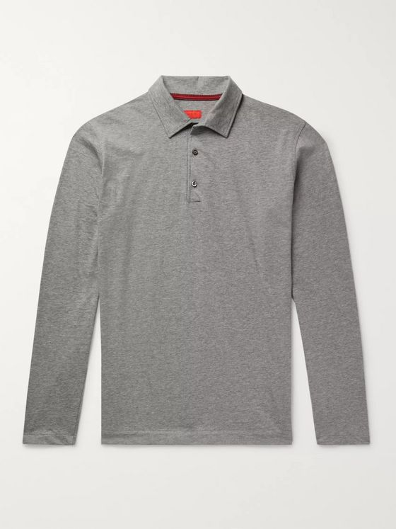 Isaia Mélange Cotton-Jersey Polo Shirt