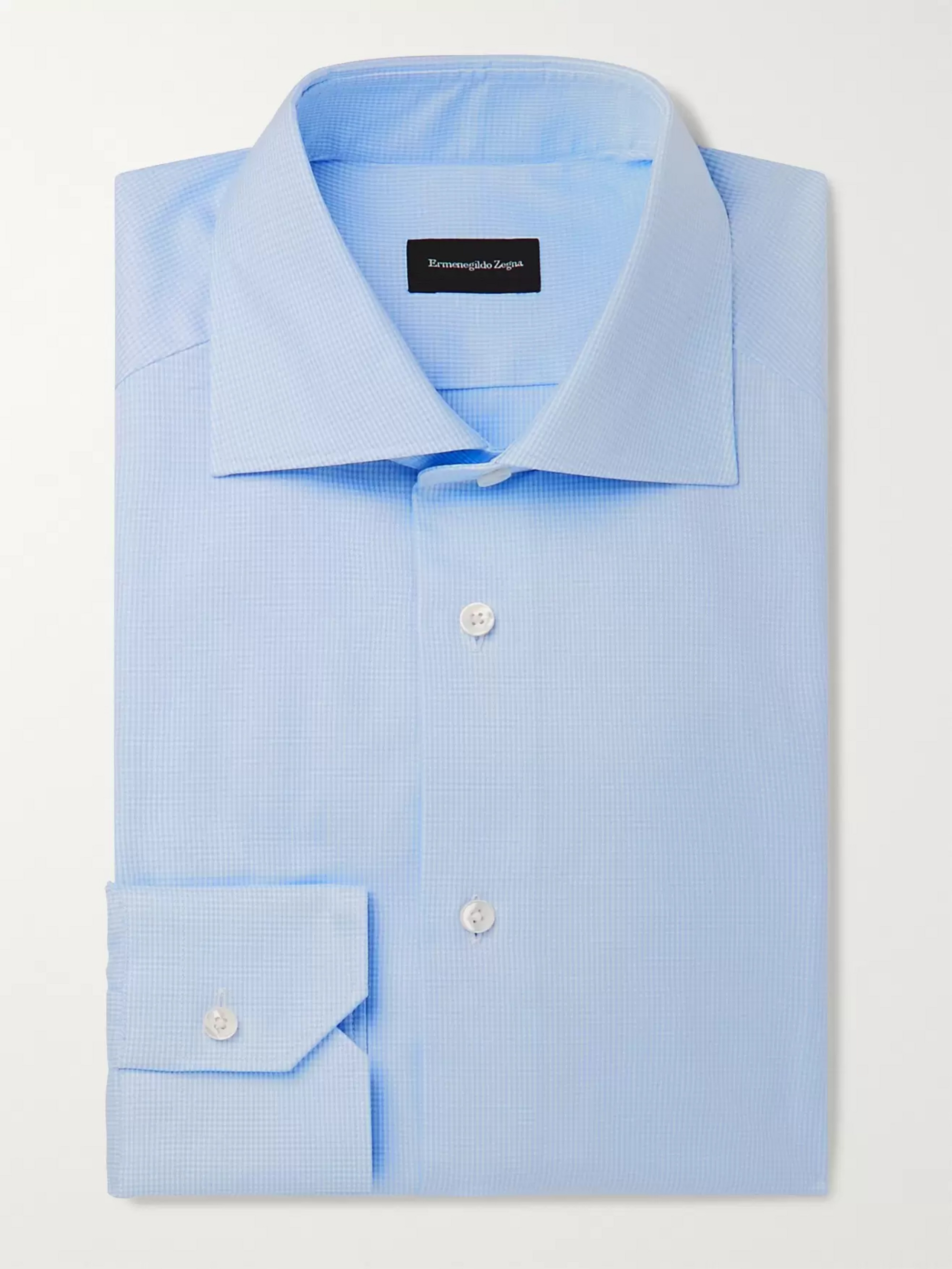 Ermenegildo Zegna Light-Blue Cutaway-Collar Puppytooth Cotton Shirt