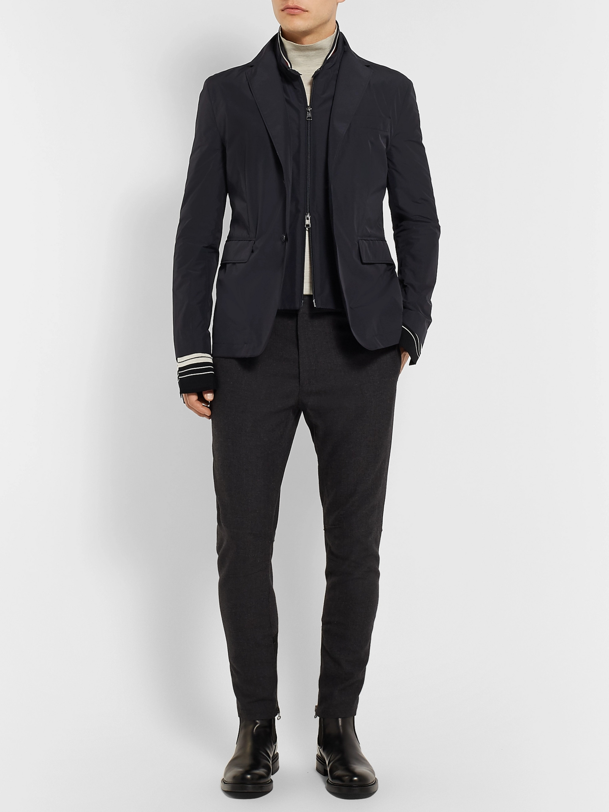 Moncler Midnight-Blue Mayenne Slim-Fit Layered Shell Blazer
