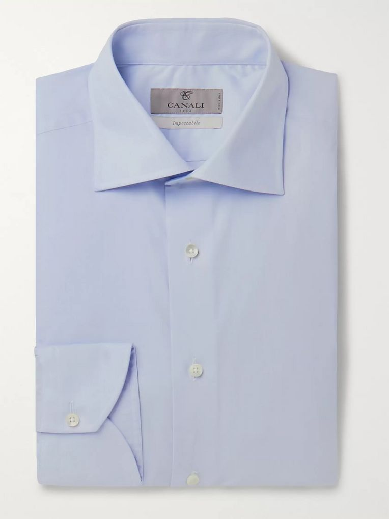 Canali Light-Blue Slim-Fit Cotton Shirt