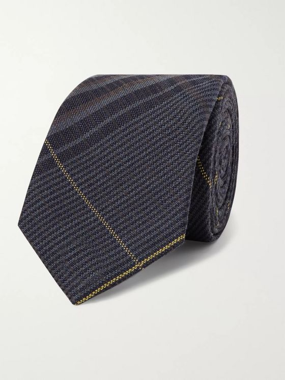 Berluti 6.5cm Checked Wool and Mulberry Silk-Blend Tie