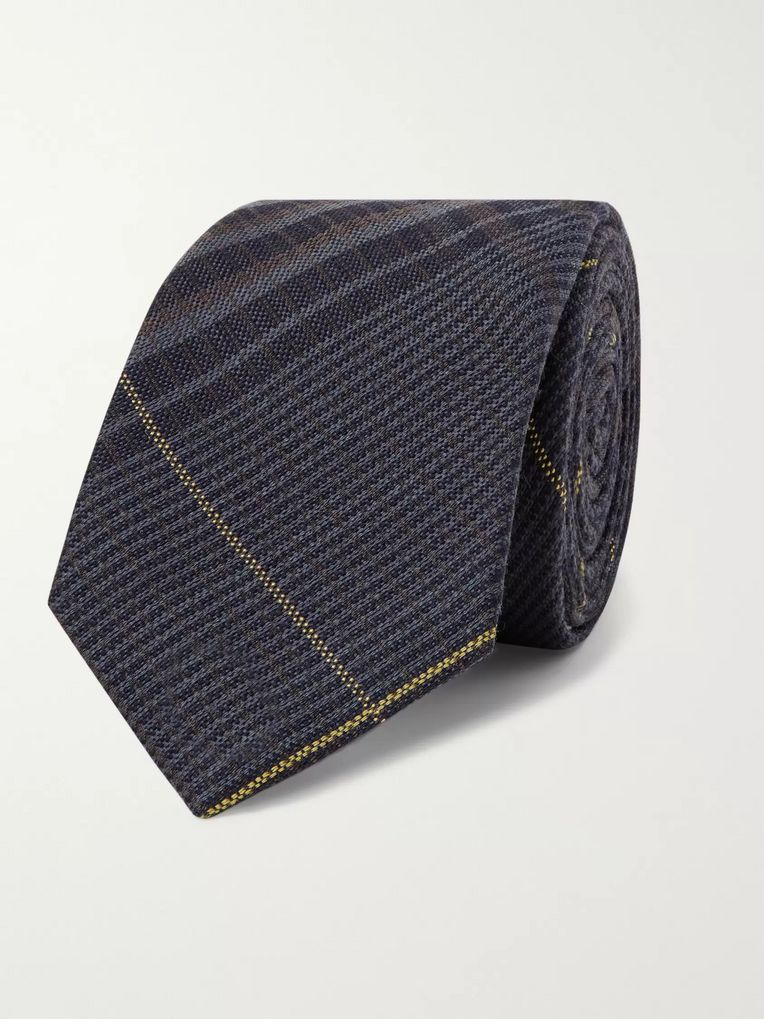 Berluti 7cm Checked Wool and Mulberry Silk-Blend Tie