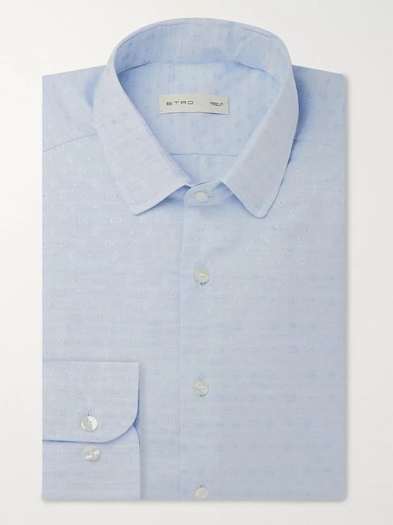 Etro Blue Cotton-Jacquard Shirt