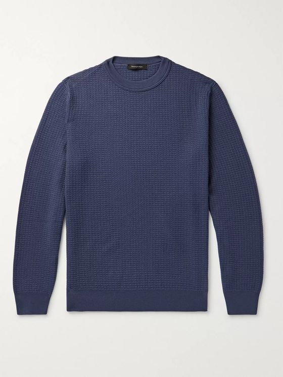 Ermenegildo Zegna Waffle-Knit Wool and Cashmere-Blend Sweater