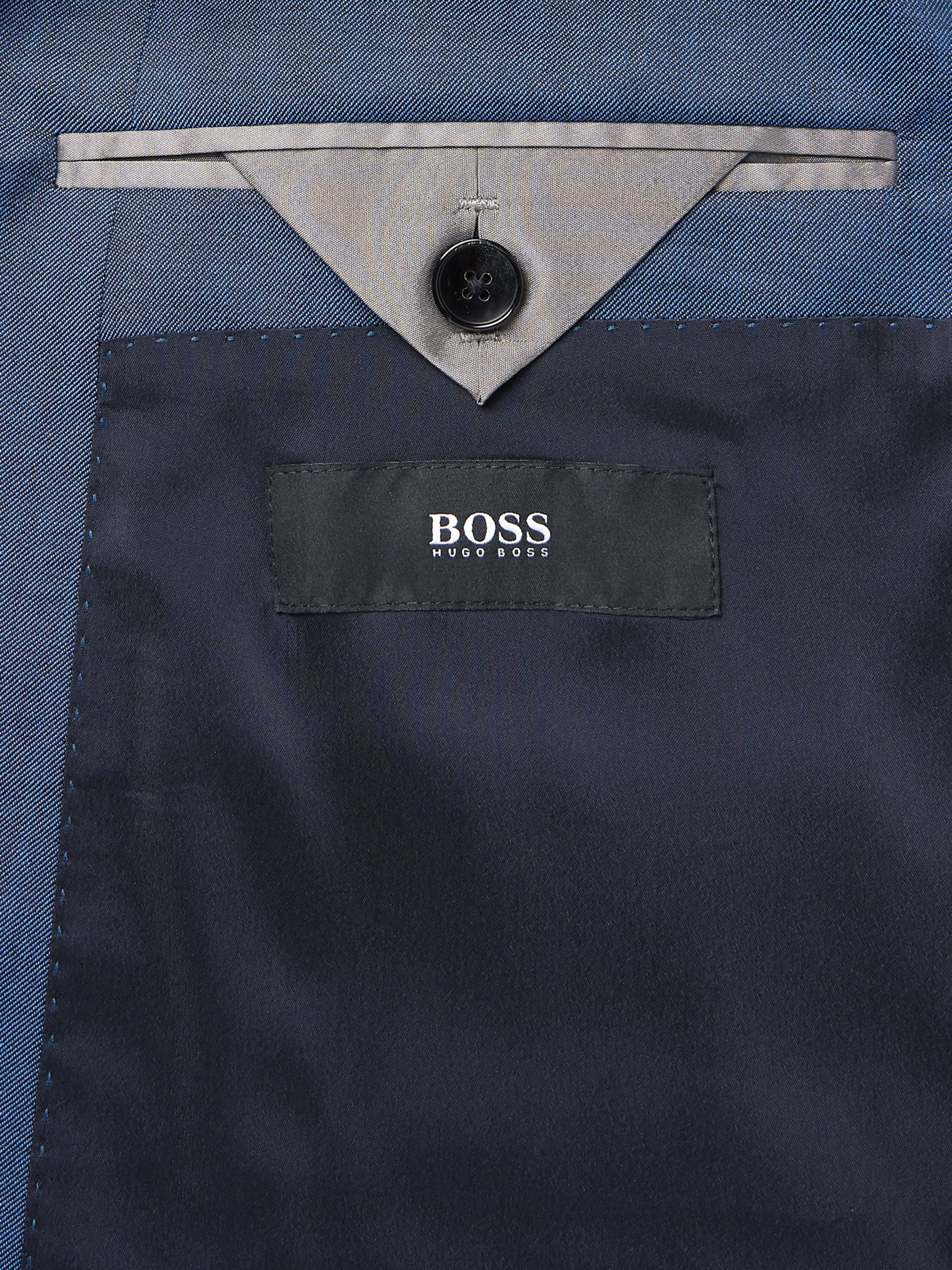 Hugo Boss Grey Huge/Genius Slim-Fit Super 120s Virgin Wool Suit