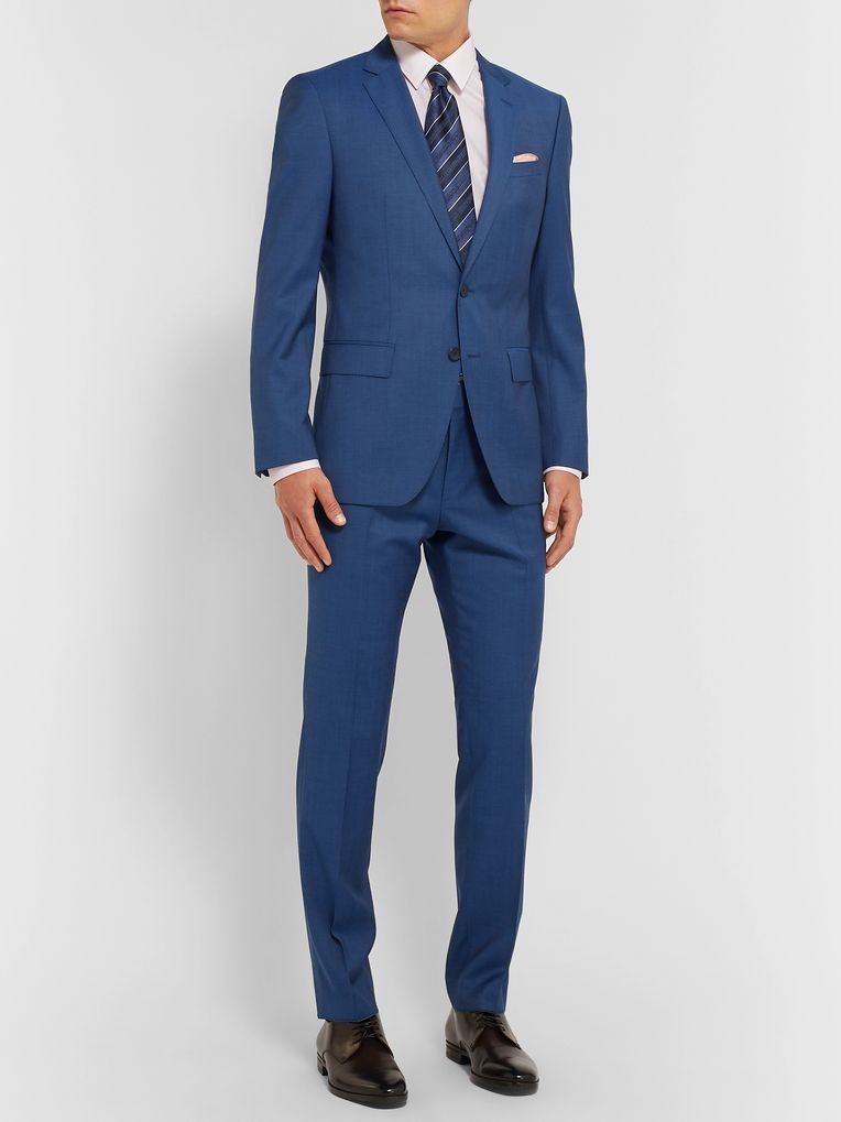 Hugo Boss Navy Huge/Genius Slim-Fit Super 120s Virgin Wool Suit