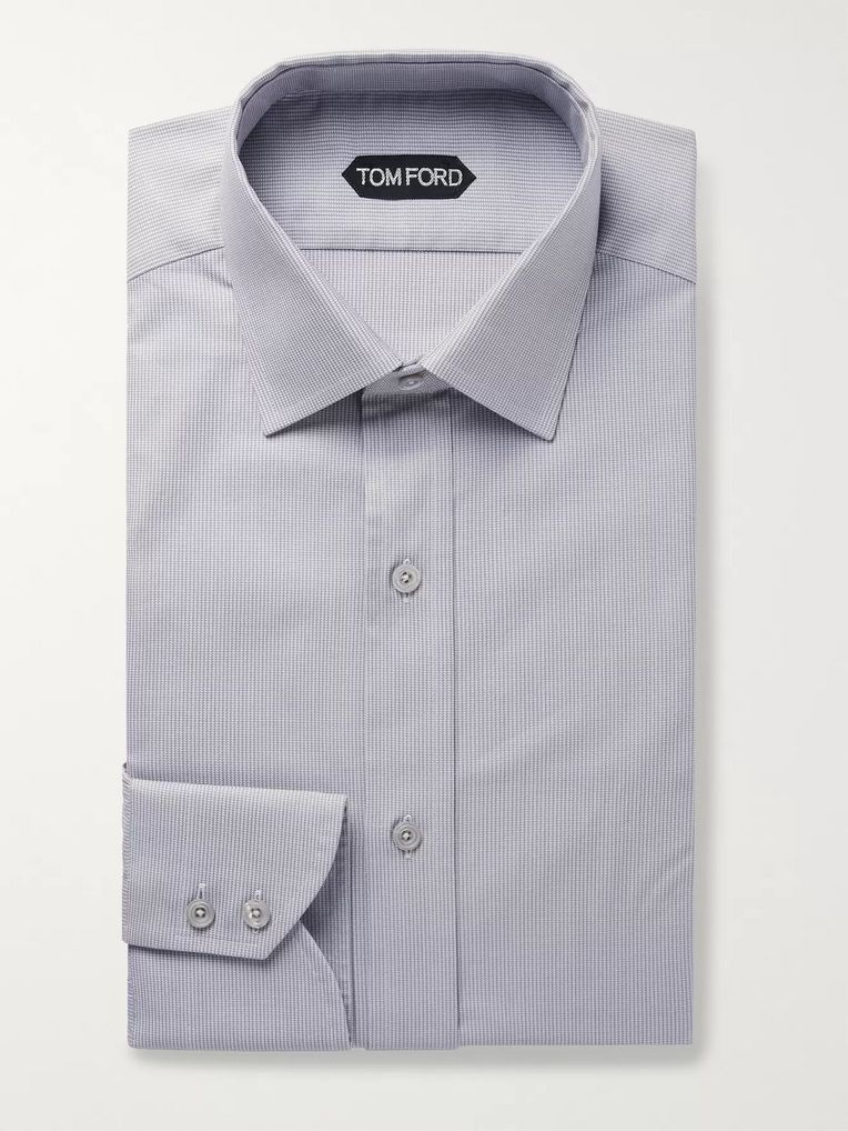 TOM FORD Grey Slim-Fit Puppytooth Cotton Shirt