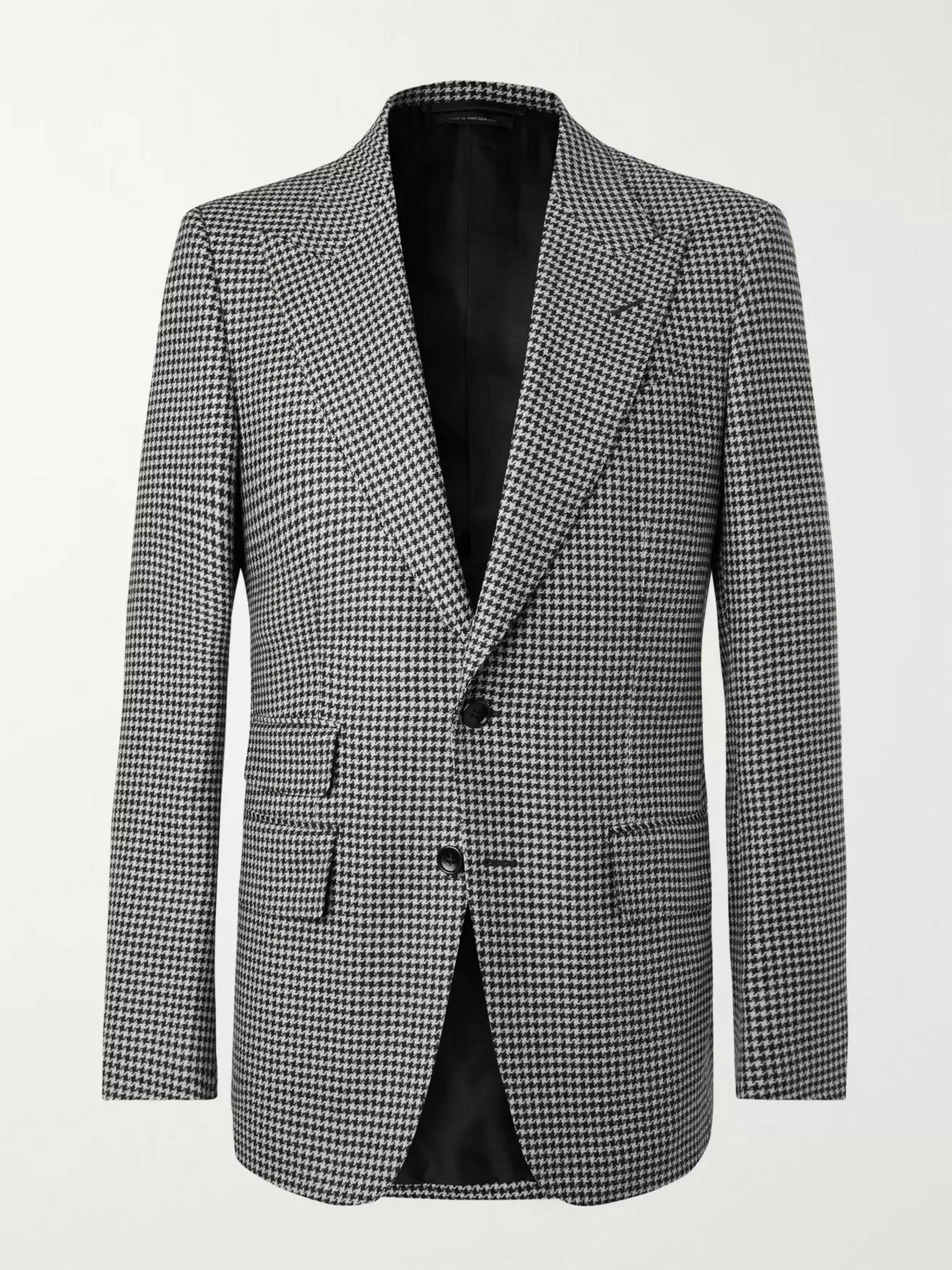 TOM FORD Black Shelton Slim-Fit Houndstooth Wool Blazer