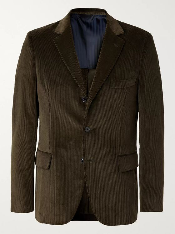 MP Massimo Piombo Olive-Green Andy Slim-Fit Cotton-Corduroy Suit Jacket