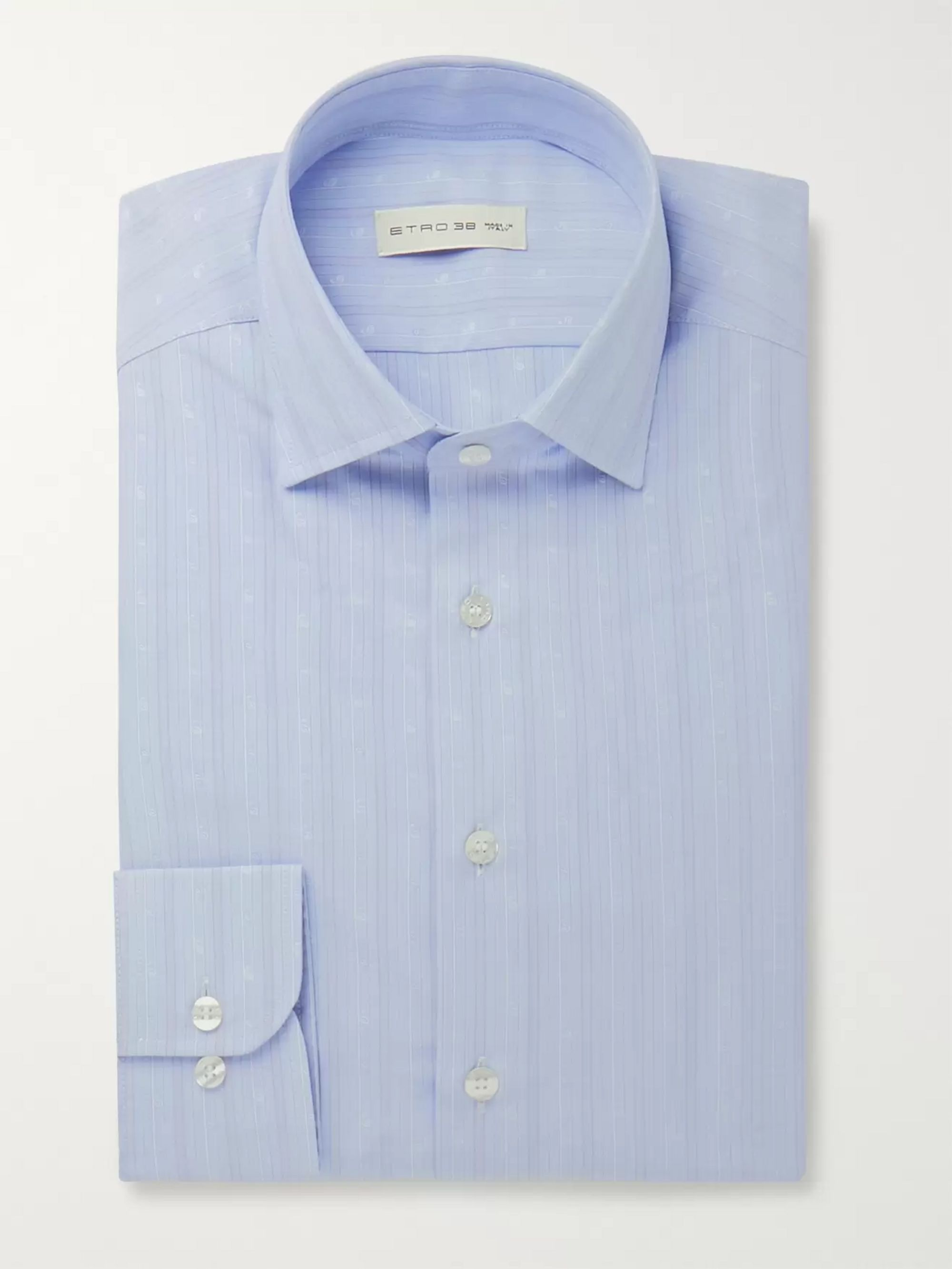 Etro Light-Blue Slim-Fit Paisley-Embroidered Striped Cotton-Poplin Shirt