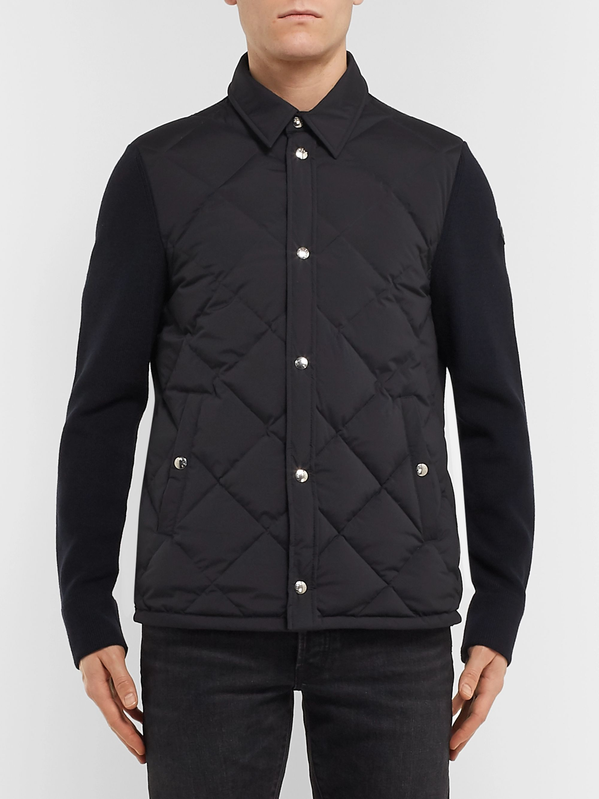 Moncler Slim-Fit Quilted Shell and Ribbed Wool Jacket