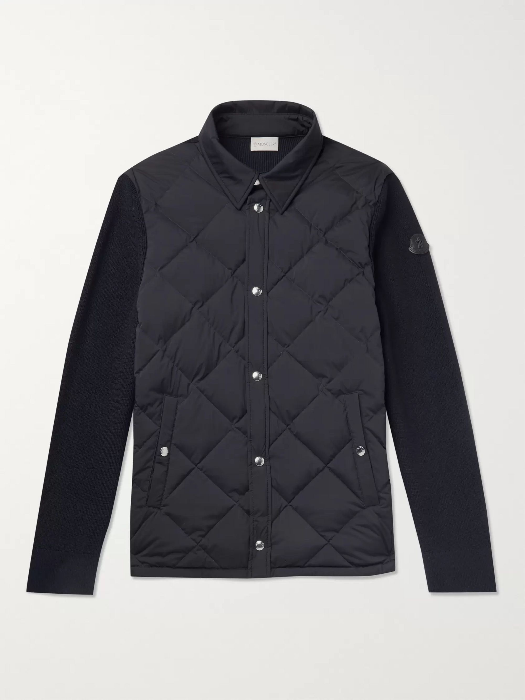 Slim Fit Quilted Shell And Ribbed Wool Jacket by Moncler