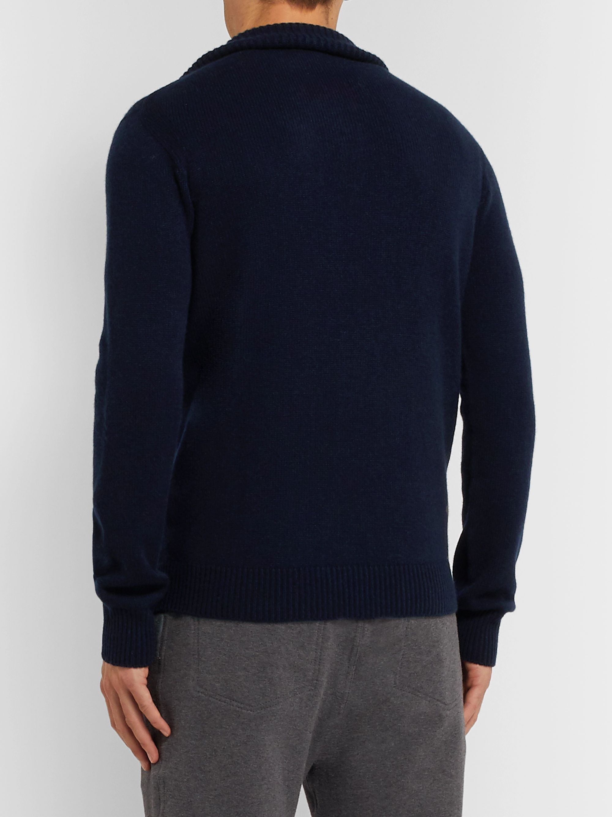 Brioni Leather-Trimmed Cashmere Half-Zip Sweater