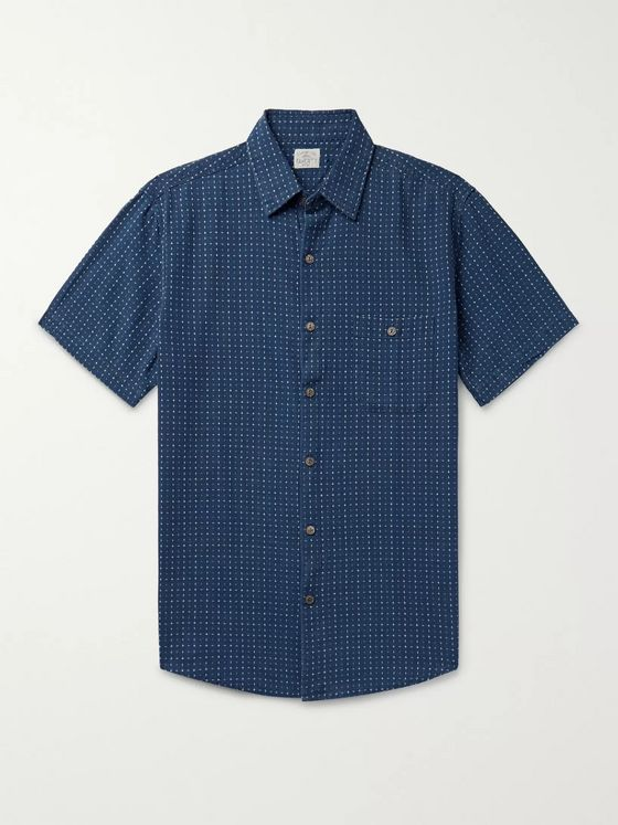 Faherty Coast Indigo-Dyed Organic Cotton-Jacquard Shirt
