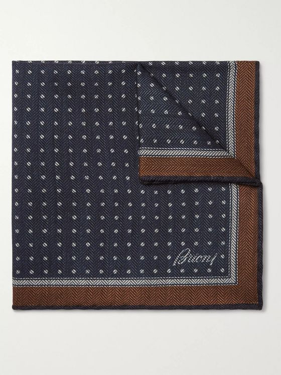 Brioni Polka-Dot Herringbone Wool and Silk-Blend Pocket Square