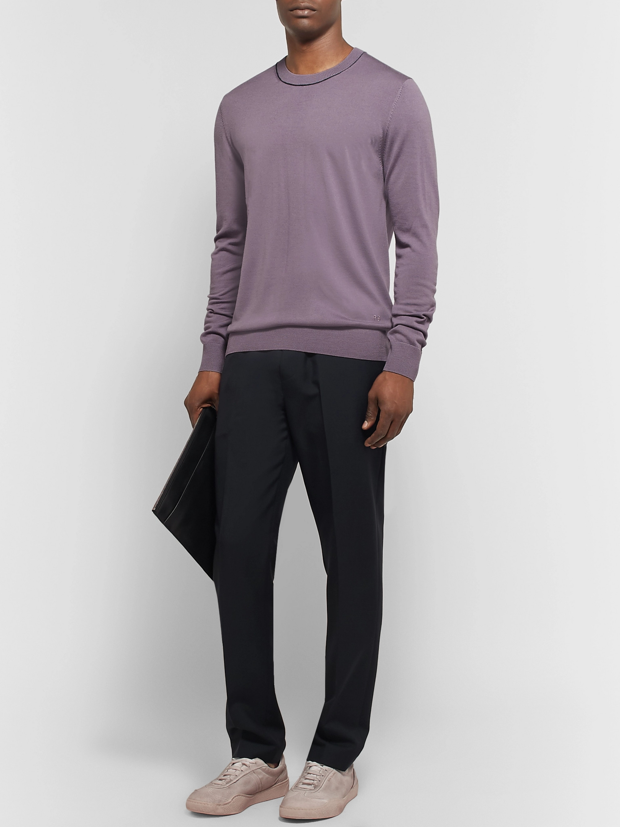 PS Paul Smith Contrast-Tipped Merino Wool Sweater