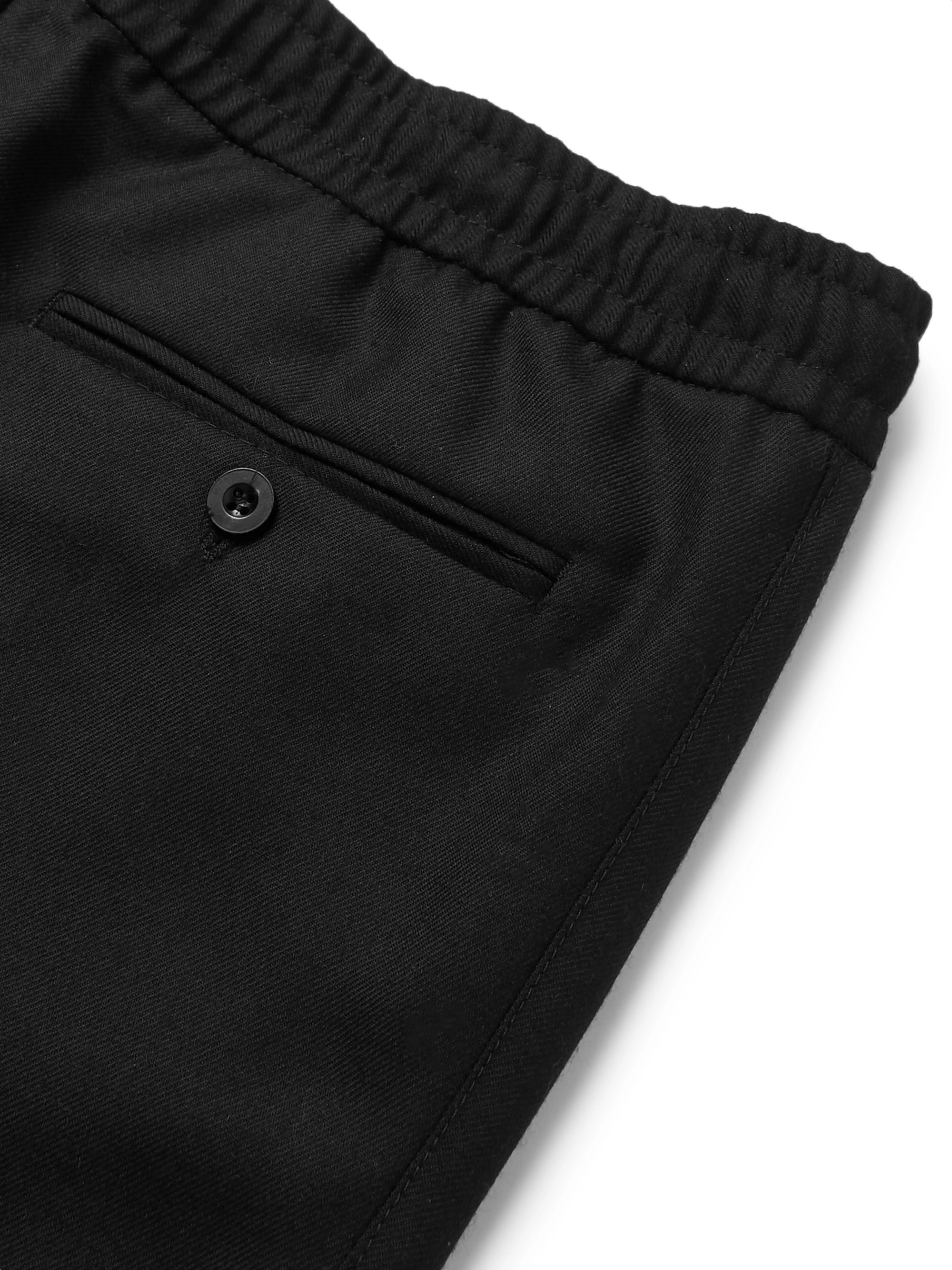 Mr P. Slim-Fit Black Wool-Twill Drawstring Trousers