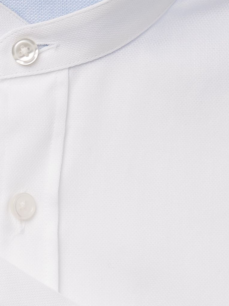 Hugo Boss Jowis White Slim-Fit Grandad-Collar Cotton-Piqué Shirt