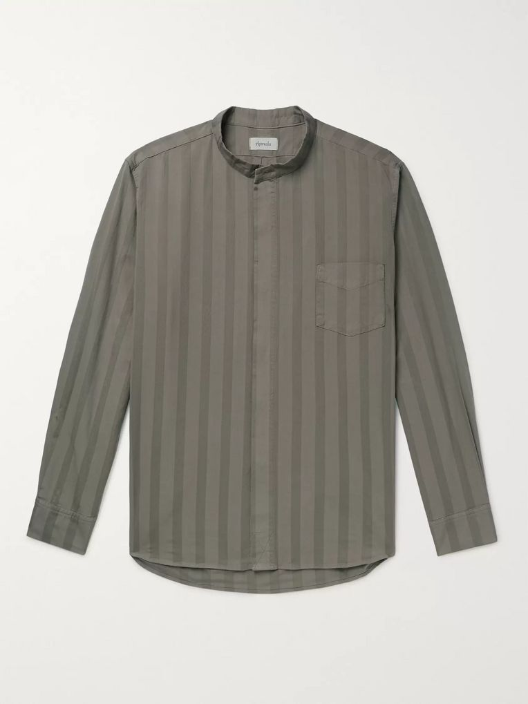 Chimala Grandad-Collar Striped Cotton Shirt