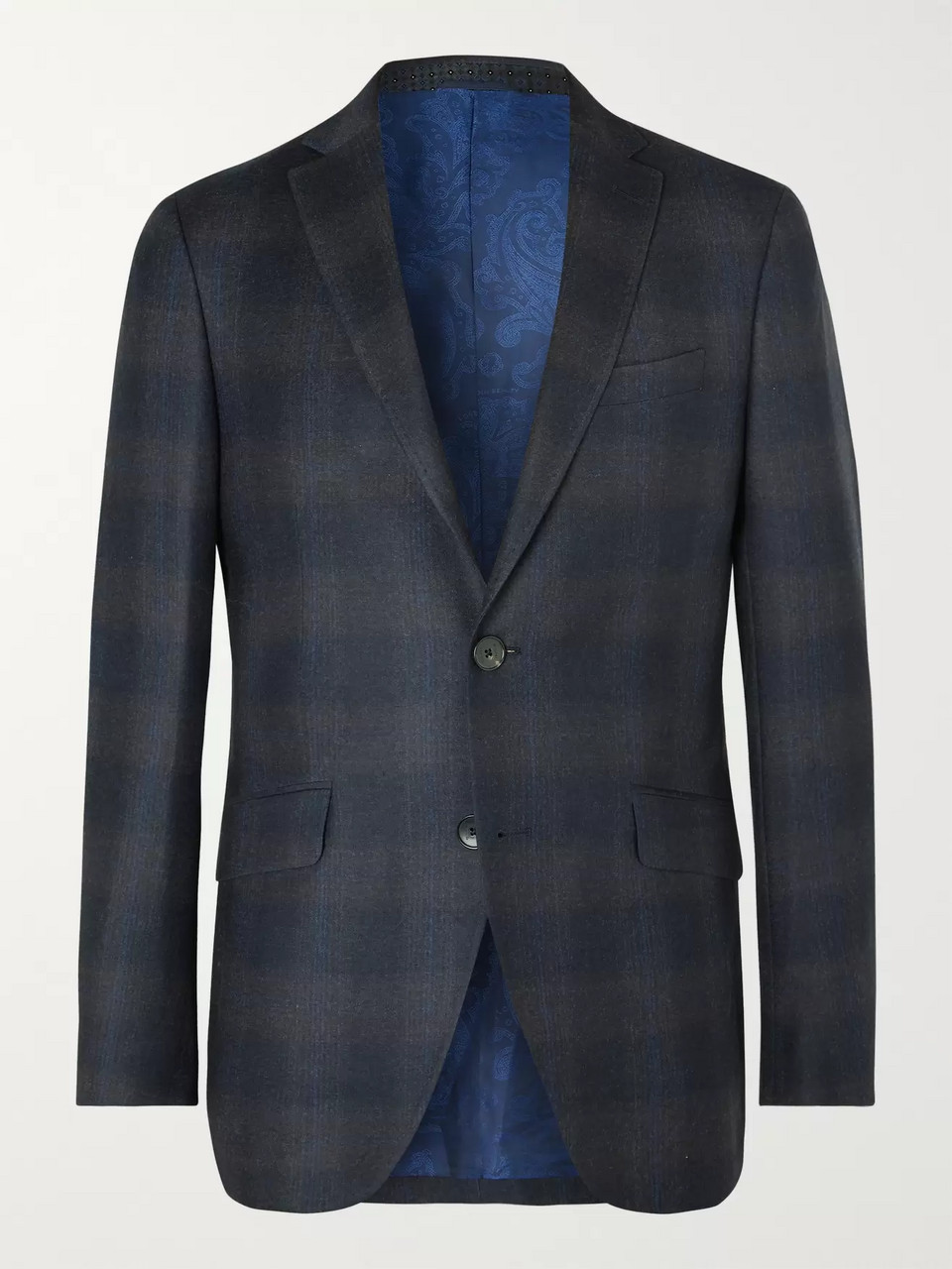 Etro Navy Slim-Fit Checked Wool Suit Jacket