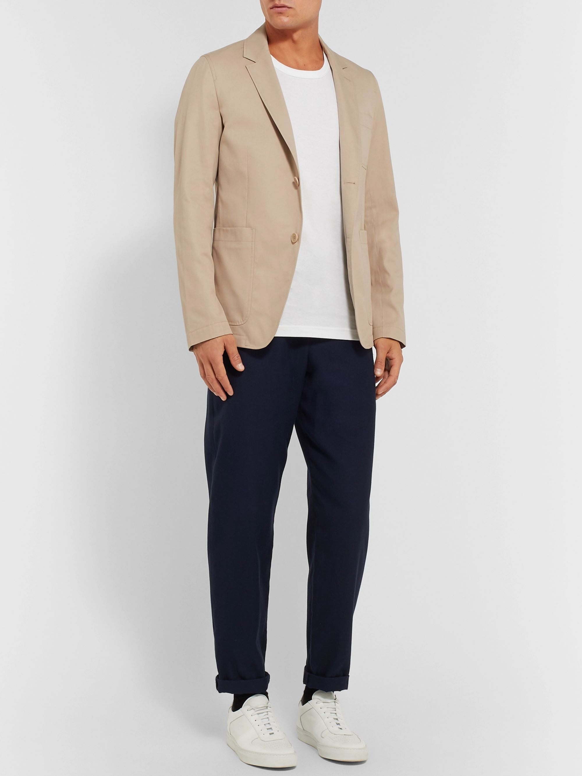 AMI Beige Slim-Fit Cotton-Twill Suit Jacket