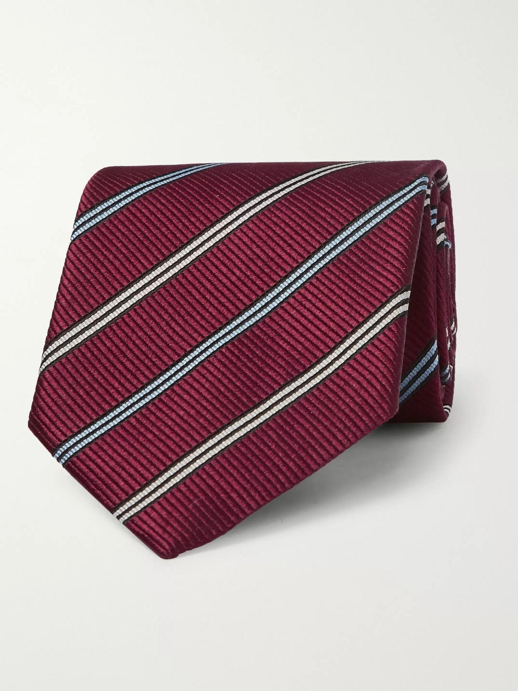 14b9215e 8cm Striped Silk Tie