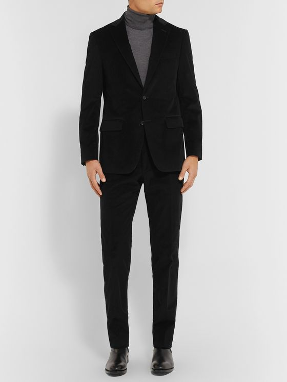 Canali Black Kei Slim-Fit Cotton-Blend Corduroy Suit Jacket