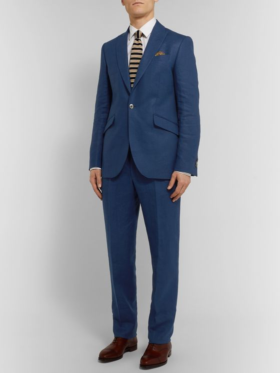 Favourbrook Sky-Blue Evering Linen Suit Trousers