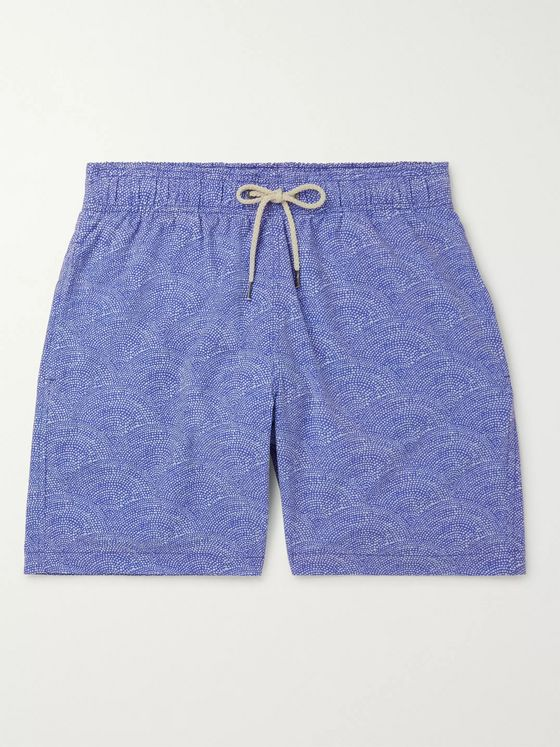 Faherty Beacon Slim-Fit Long-Length Printed Swim Shorts