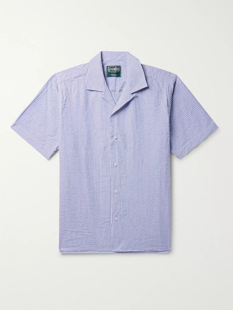 Gitman Vintage Camp-Collar Striped Cotton-Seersucker Shirt