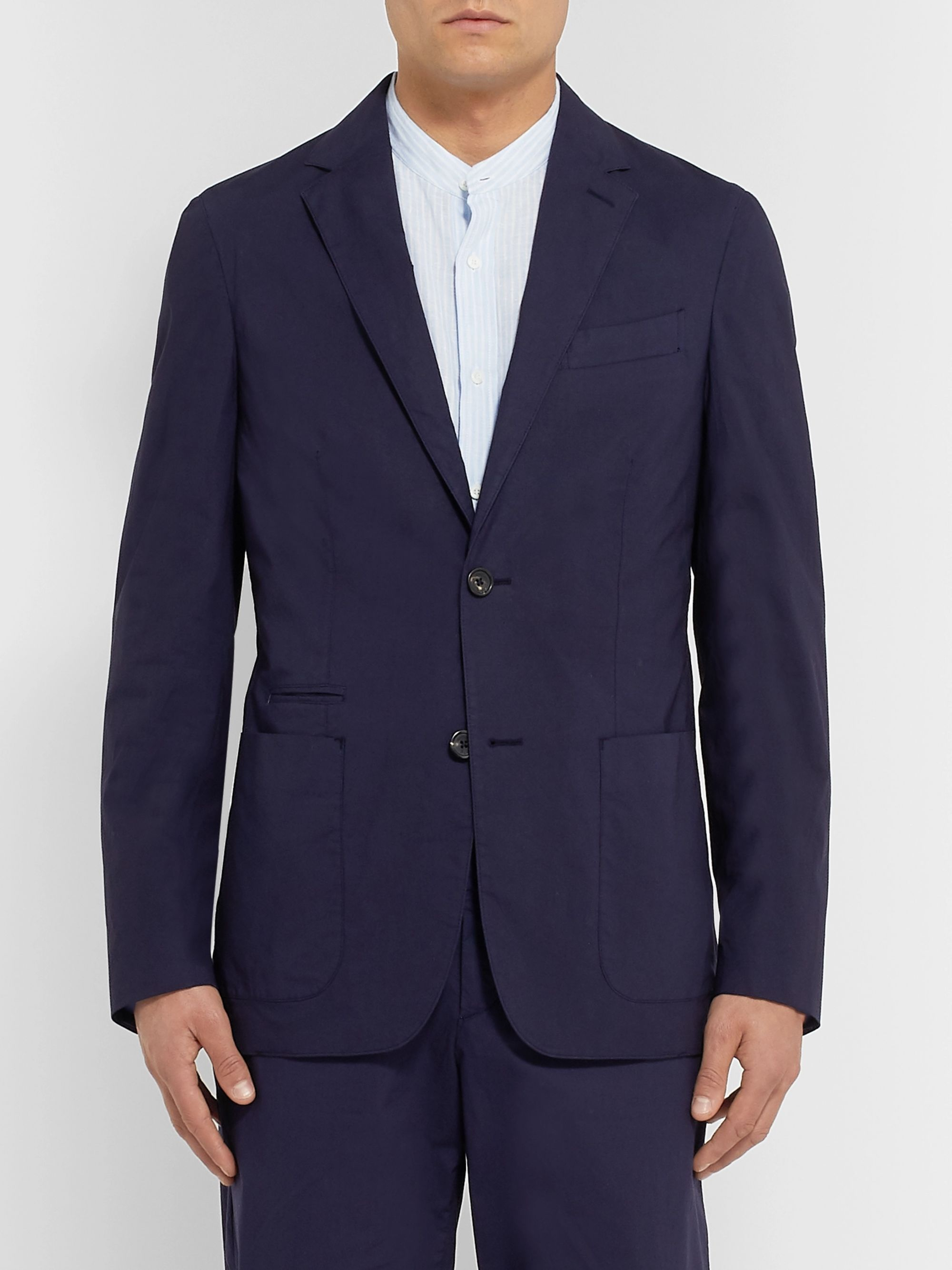 Ermenegildo Zegna Navy Slim-Fit Unstructured Garment-Dyed Stretch-Cotton Suit Jacket