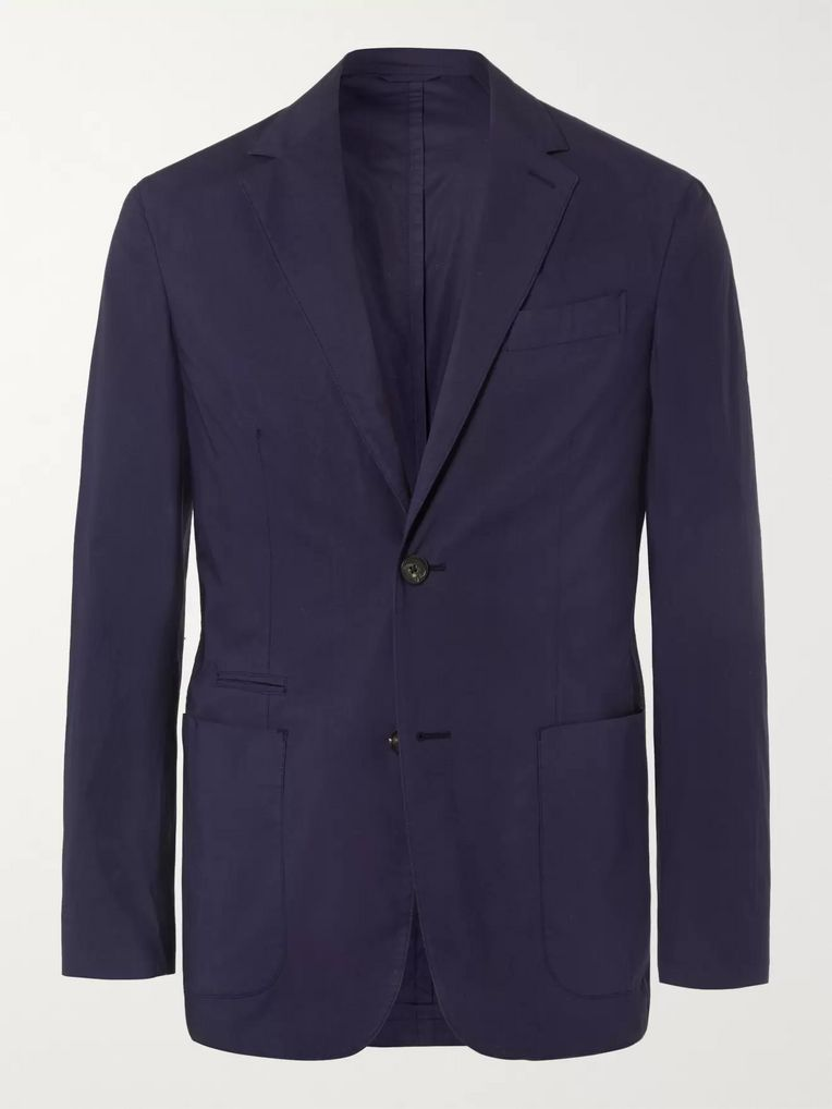 5572e52793 Navy Slim-Fit Unstructured Garment-Dyed Stretch-Cotton Suit Jacket