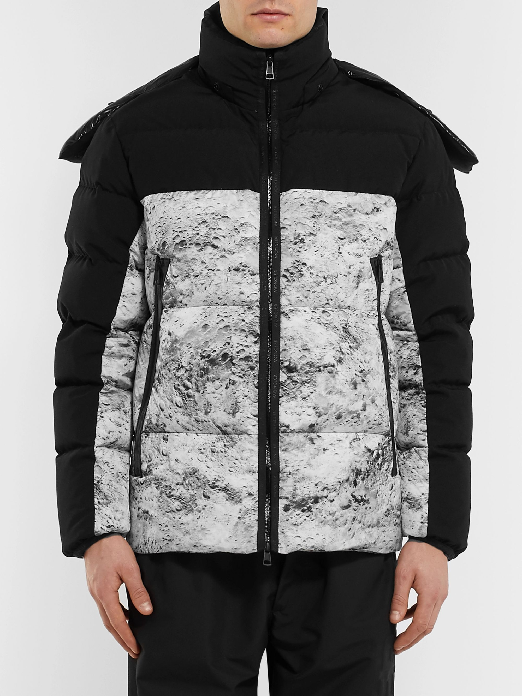Moncler Slim-Fit Printed Quilted Shell Hooded Down Jacket