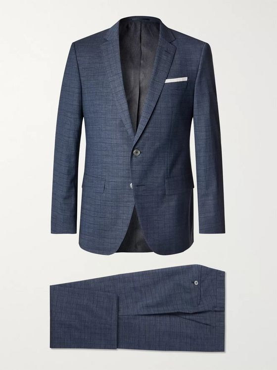Hugo Boss Navy Hutson/Gander Slim-Fit Checked Virgin Wool and Cotton-Blend Three-Piece Suit