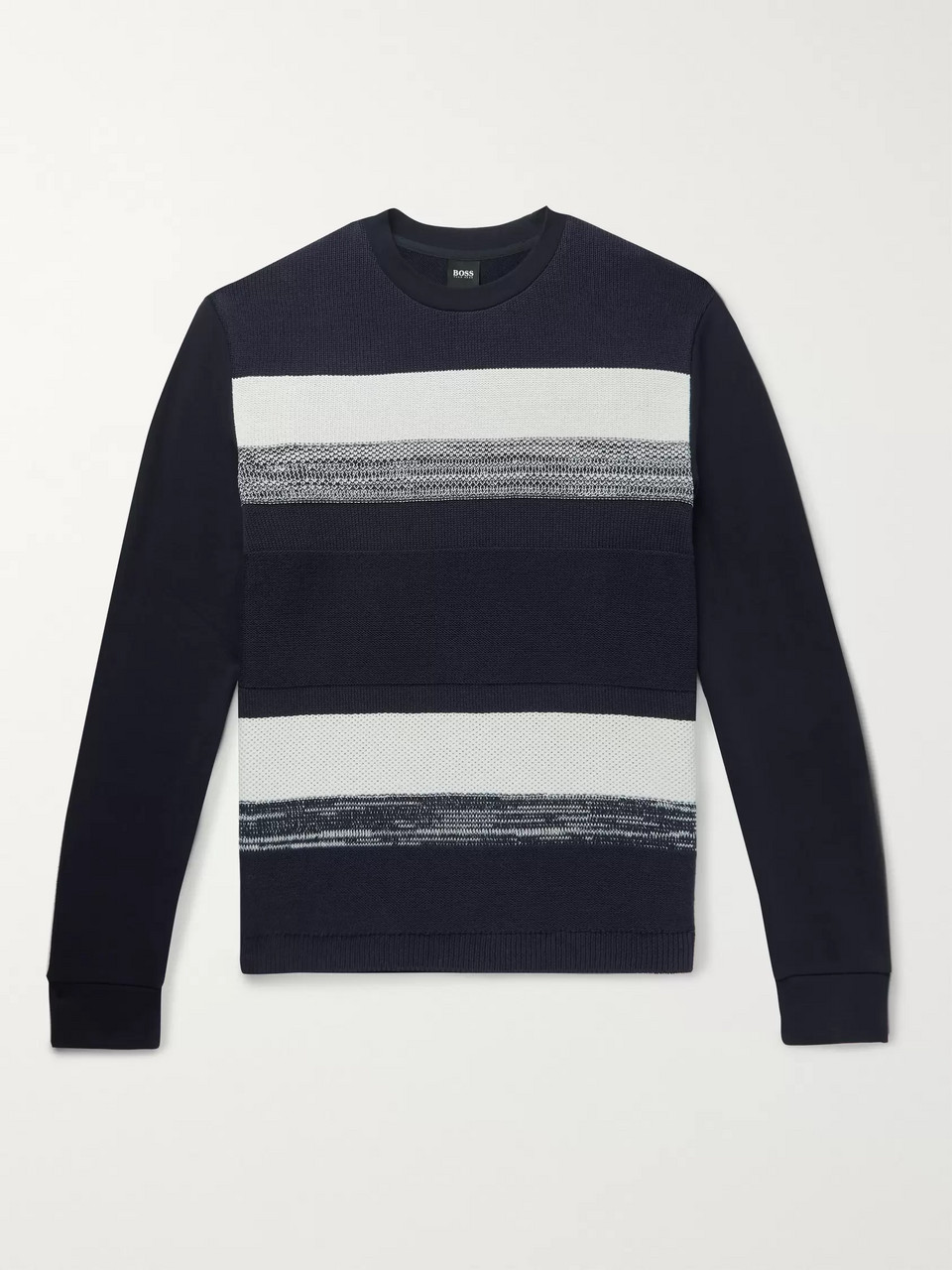 Hugo Boss Striped Cotton and Loopback Cotton-Jersey Sweatshirt