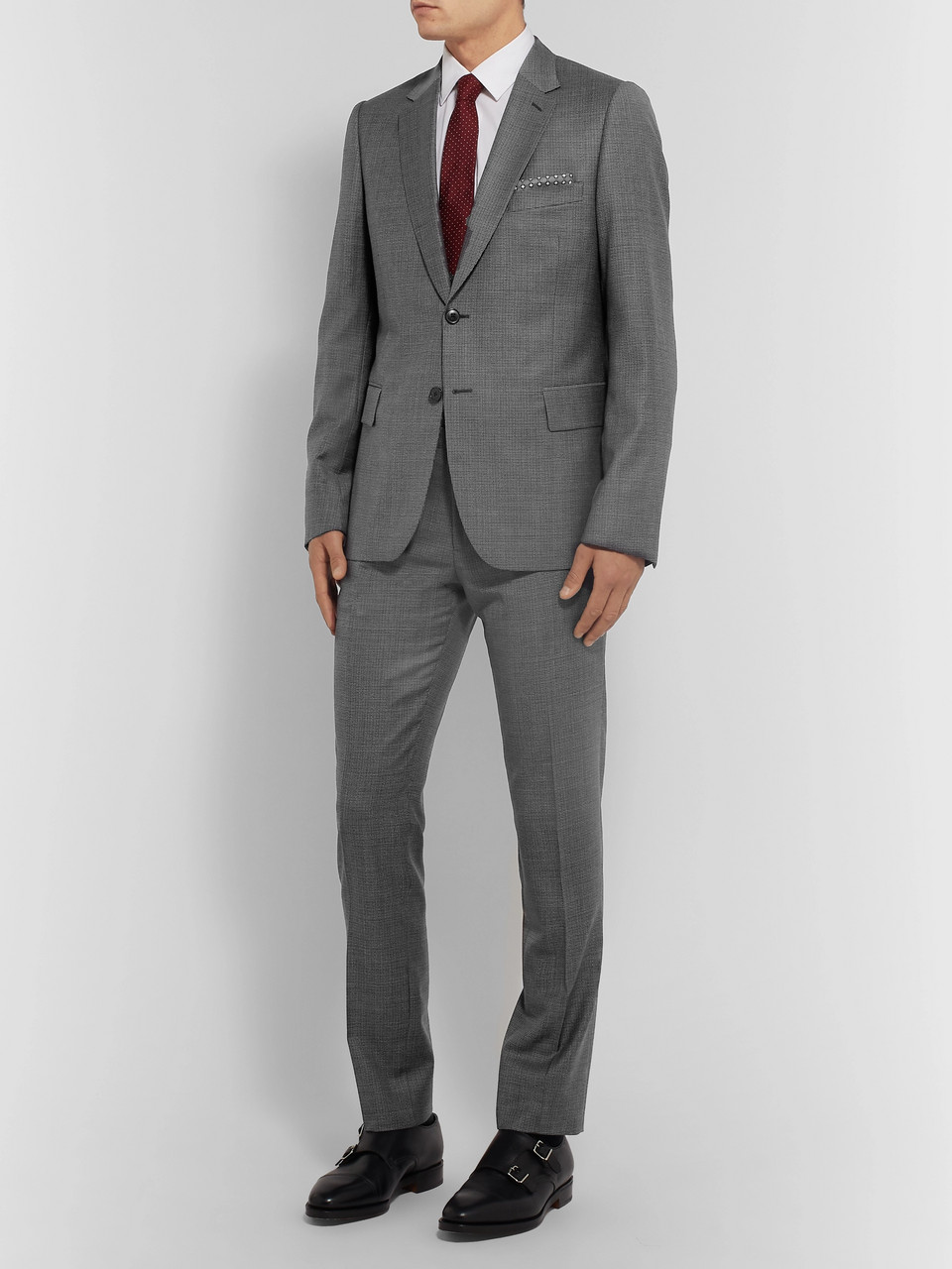 Paul Smith Navy Soho Slim-Fit Puppytooth Wool Suit Jacket
