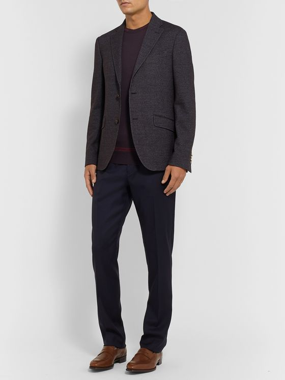 Etro Navy Slim-Fit Mélange Wool and Cotton-Blend Blazer