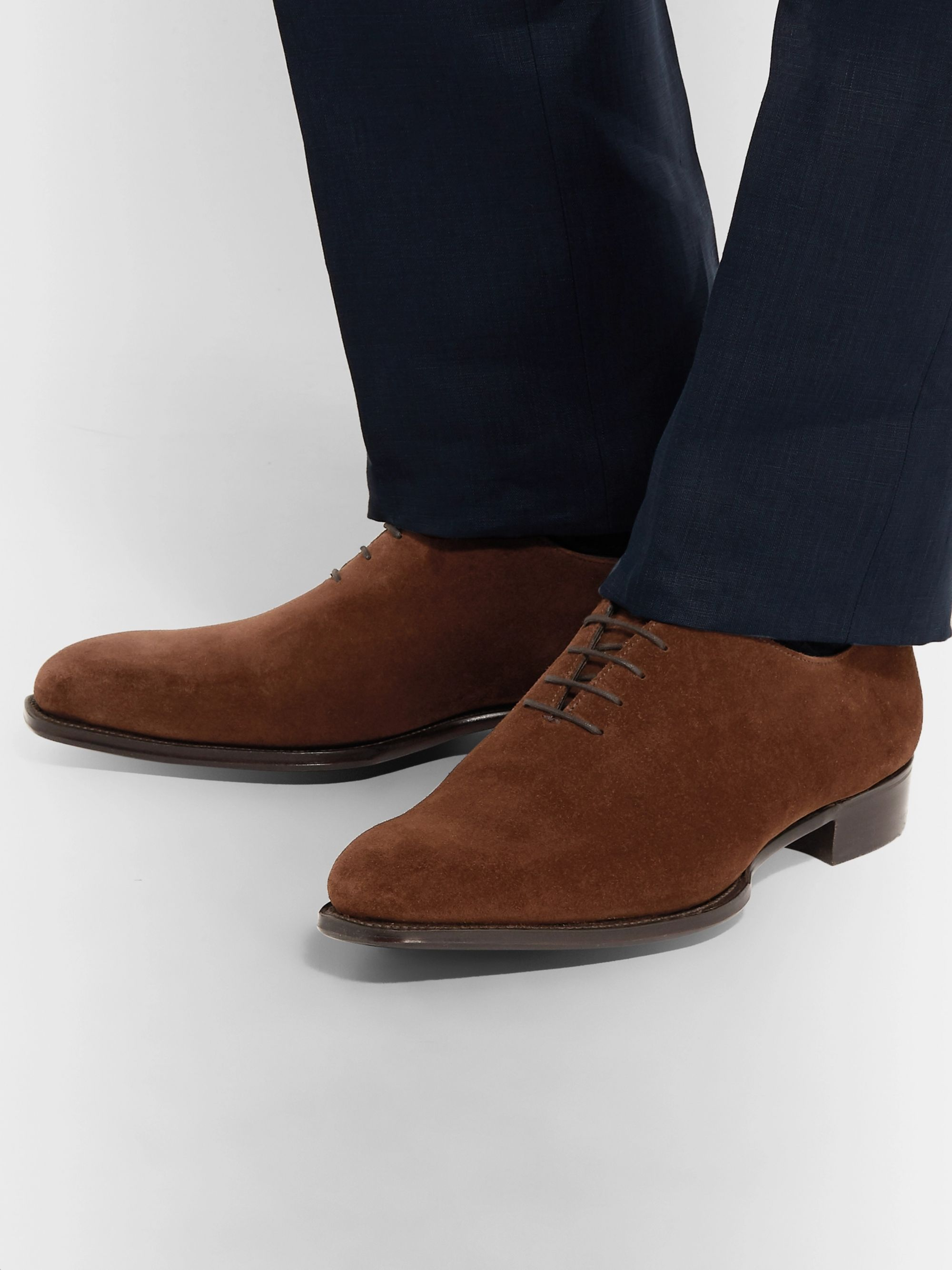 Kingsman + George Cleverley Whole-Cut Suede Oxford Shoes