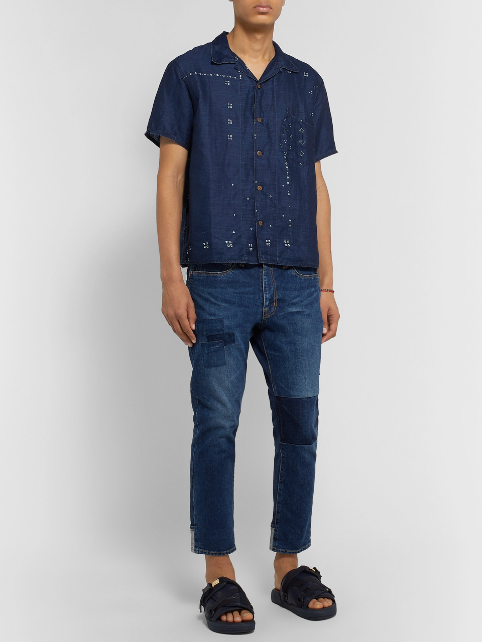 KAPITAL Camp-Collar Printed Linen Shirt