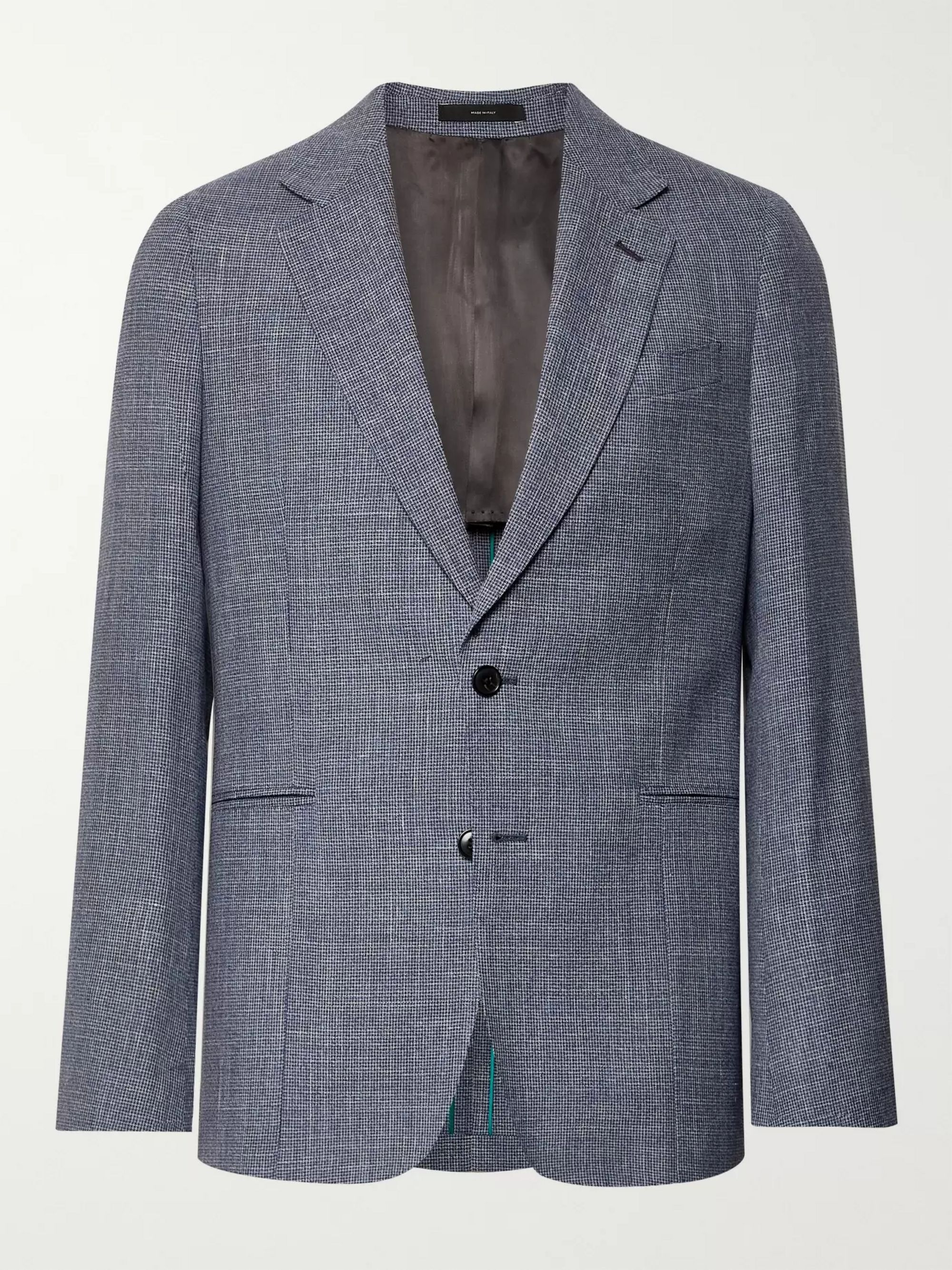 Paul Smith Navy Soho Slim-Fit Puppytooth Wool, Silk and Linen-Blend Suit Jacket