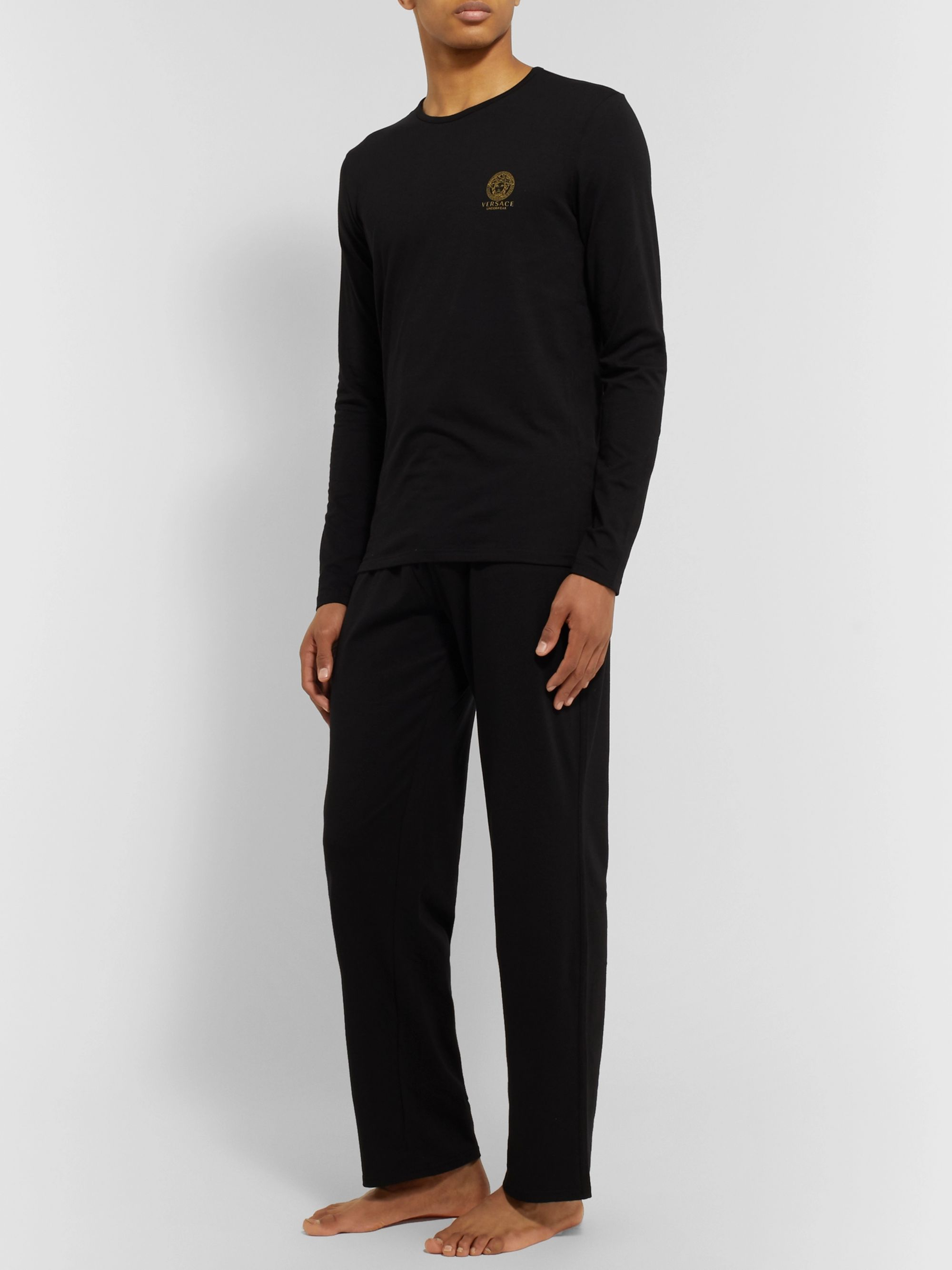 Versace Logo-Print Stretch Cotton-Blend T-Shirt
